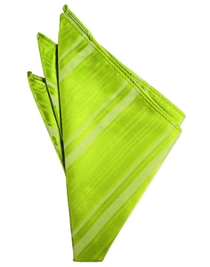 Lime Striped Satin Pocket Square - Tuxedo Club