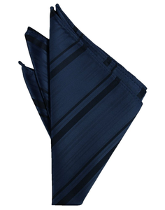 Midnight Blue Striped Satin Pocket Square - Tuxedo Club