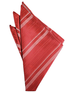 Persimmon Striped Satin Pocket Square - Tuxedo Club