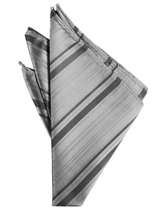 Silver Striped Satin Pocket Square - Tuxedo Club