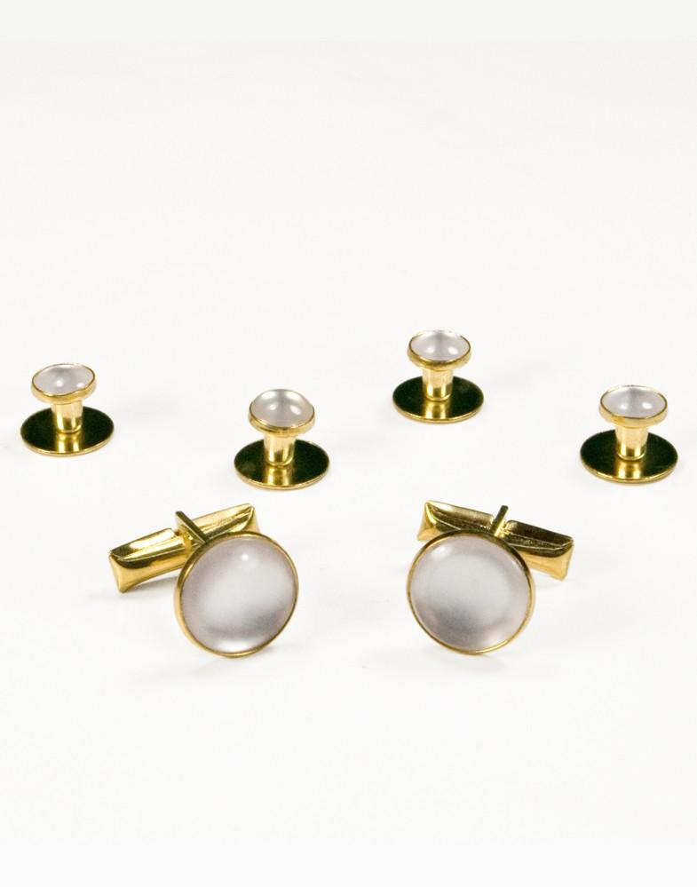 White on Gold Metal Studs and Cufflinks Set - Tuxedo Club