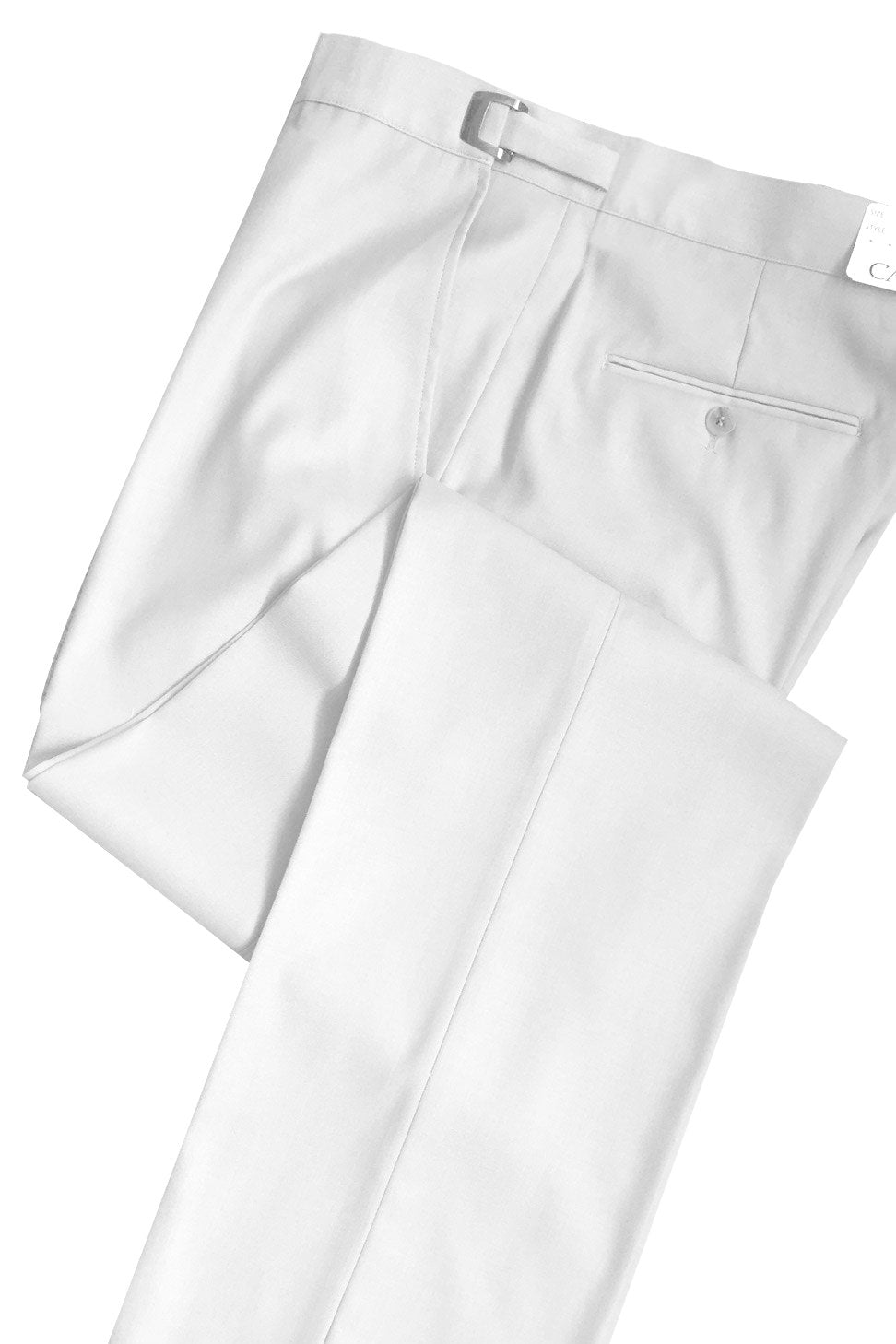 White Slim-Fit Flat Front Tuxedo Pants - Tuxedo Club