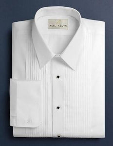 Laydown Pleated White Tuxedo Shirt - Tuxedo Club
