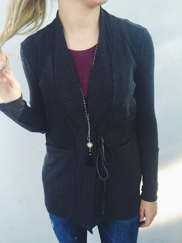Ecru Suede Front Cardigan with Tie Front