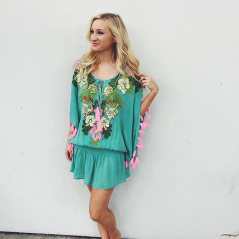Miss June Aloha Dress in Turquoise