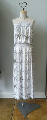 100% RAYON STARFISH BEADED MAXI DRESS BY SKEMO, NAVY PRINT ON WHITE BACKGROUND