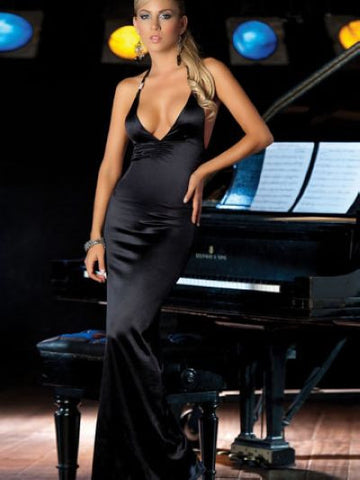 Glamorous V Neck, flounce hem, Sexy Black Party Gown