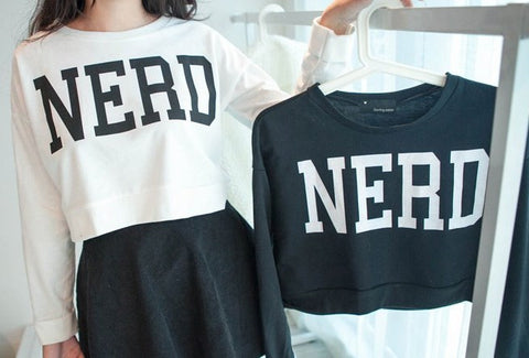 Long Sleeved, Cropped Nerd Tee