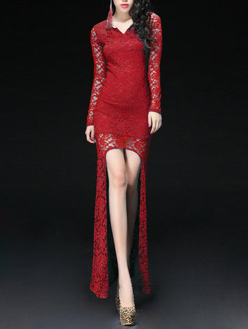 Red lace Hi-Low Evening Dress