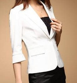 White One Button, three quarter sleeves Blazer
