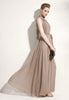 Elegant stand-collar, pleated chiffon dress, in Khaki