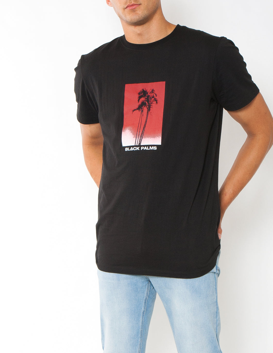 THE SUNSET PALM TEE - BLACK W RED - Black palms mens black tee with cool palm tree graphic on the front black palms