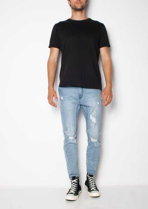 THE TAPERED  DROP CROTCH - PACIFIC SKIES - Black palms mens blue skinny jean with trashing black palms
