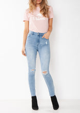 Load image into Gallery viewer, womens skinny jean with rips in the knees black palms