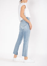 Load image into Gallery viewer, HIGH RELAXED KICK JEAN - BEACH BLAST - Blackpalms straight legged denim womens jean black palms