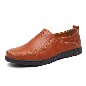 Men's Solid Color Business Cowskin Casual Shoes