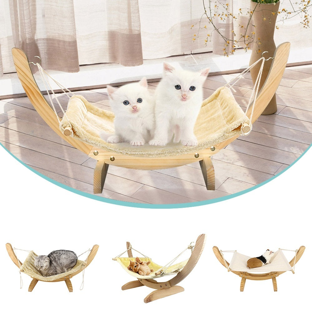 Pet Breathable Bed Wood Hammock Bed Removable