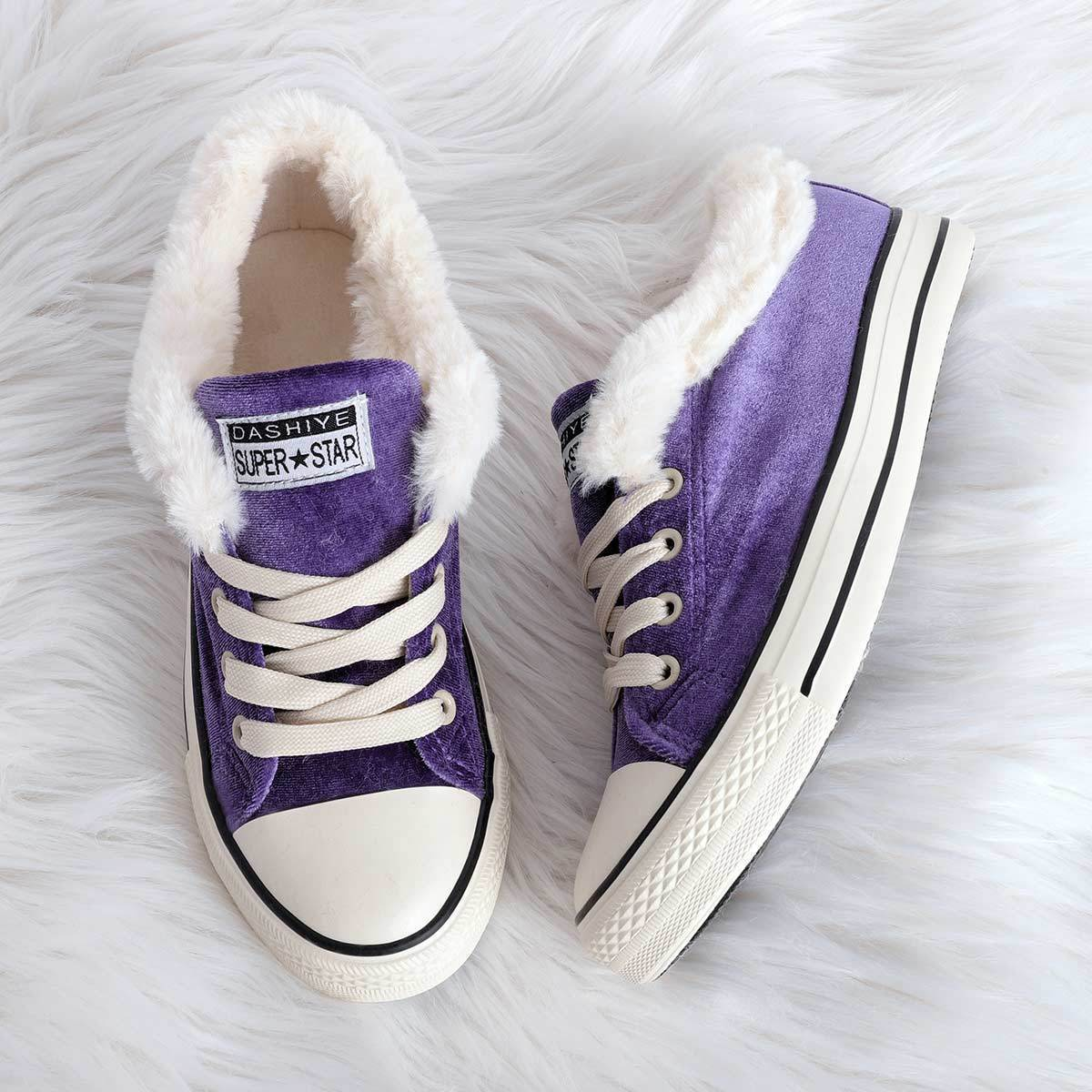 Womens Canvas Snow Sneakers Fur Lined Shoes【Buy 2 Free Shipping】