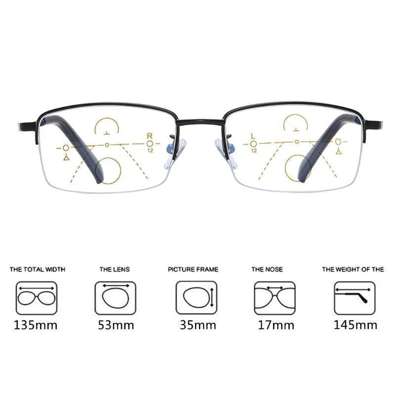 progressive far and near dual-use reading glasses