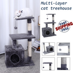 Beige Gray Cat Climbing Jumping Frame Multi-layer