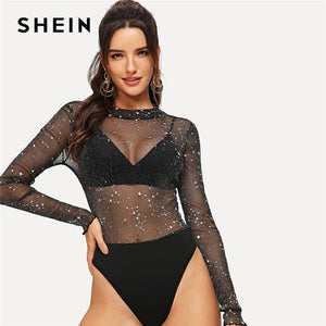 72a1f52e71 SHEIN Sexy Black Mesh Contrast Sheer Star Sequined Bodysuit Women Mid Waist  Ruffle Sleeve Skinny Without