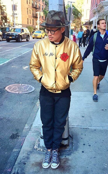 chi flo army still 1 rose gold leather jacket