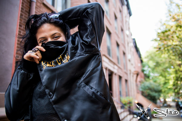 Chi Flo x Still 1 Fall Streetwear Shoot in Brooklyn No Double Crossers Bomber