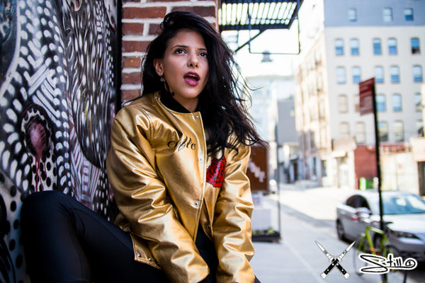 Chi Flo x Still 1 Fall Streetwear Shoot in Brooklyn Rose Gold Metallic Bomber Jacket
