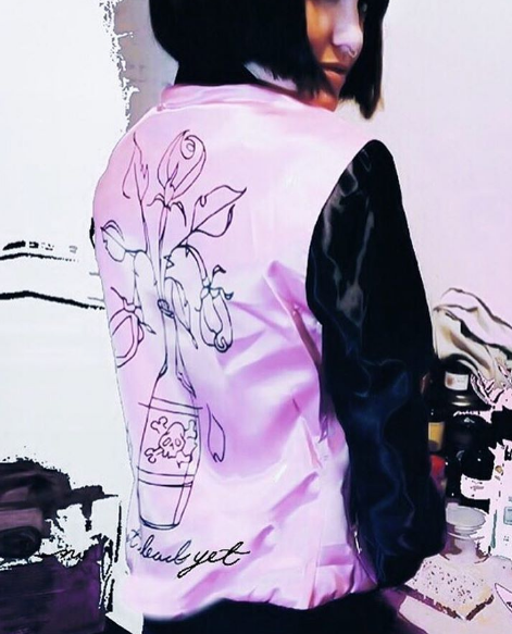 Chi Flo Army Not Dead Yet Chi Flo Pink Pastel Bomber