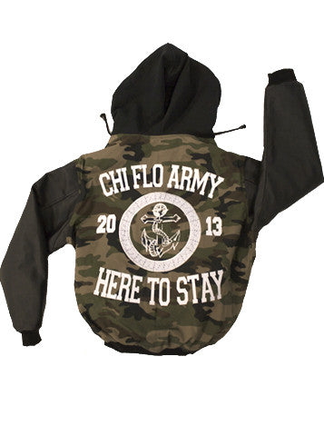 Here to Stay Camo Varsity Jacket - Chi Flo