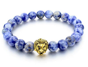 Blue Natural Stone Gold Color Lion strand Lion Bracelet