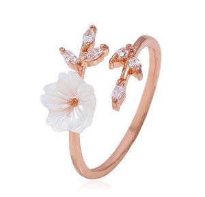 Crystal Leaf Shell Flower Ring
