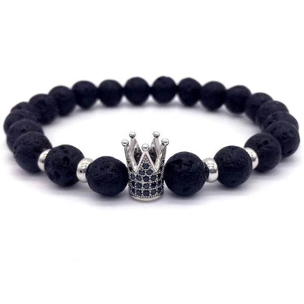 Lava Stone King Crown Bracelet