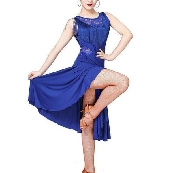 Midi Knee-Length Latin Dress with Tassels