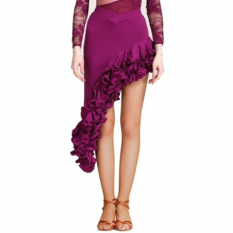Wrap Short Latin Skirt with Ruffles-purple