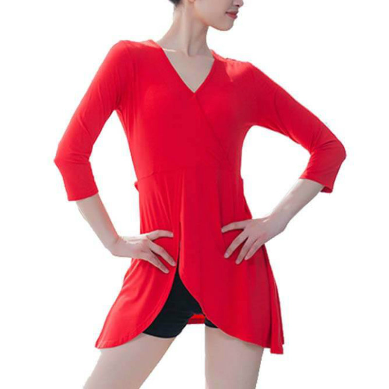 V Neck 3/4 Length Sleeve Latin Top with Lacing