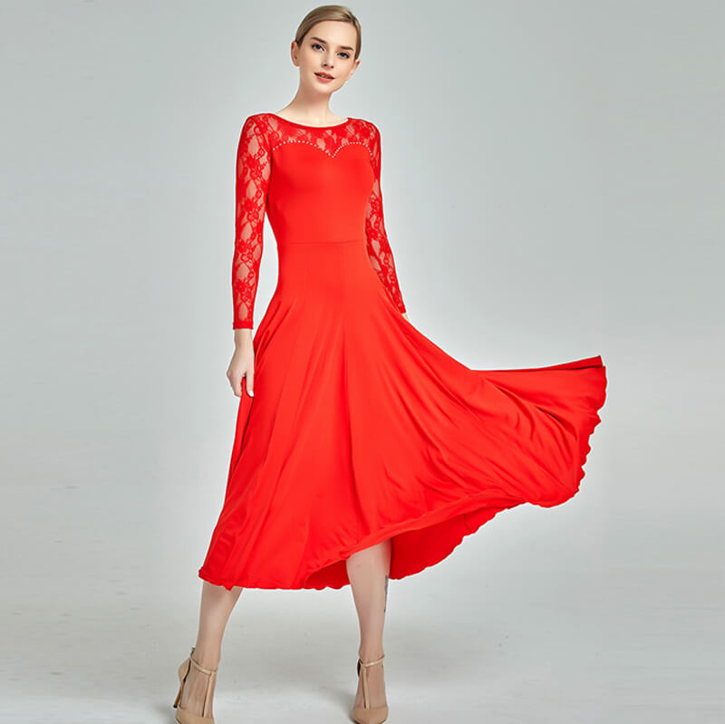 Draped Boat Neck Lace Sleeve Dress