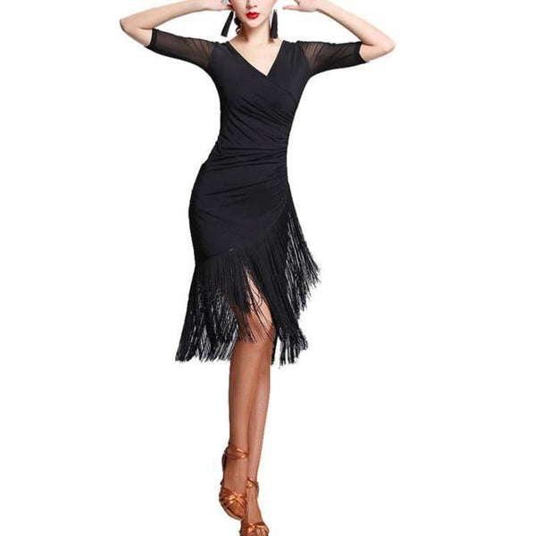 A-Line Knee-Length Latin Dress with Tassels