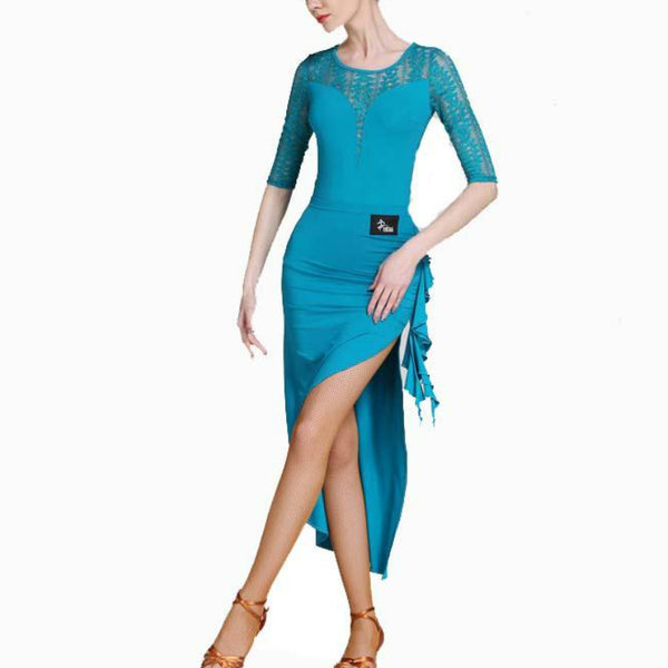 Asymmetric Round Neck 3/4 Length Sleeve Dress