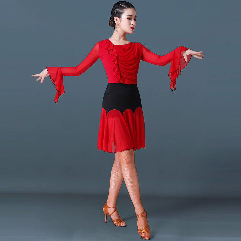 A-Line Knee-Length Patchwork Latin Dress