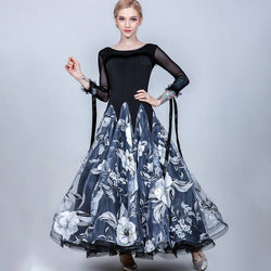 A-Line Long Ballroom Dress with Flowers