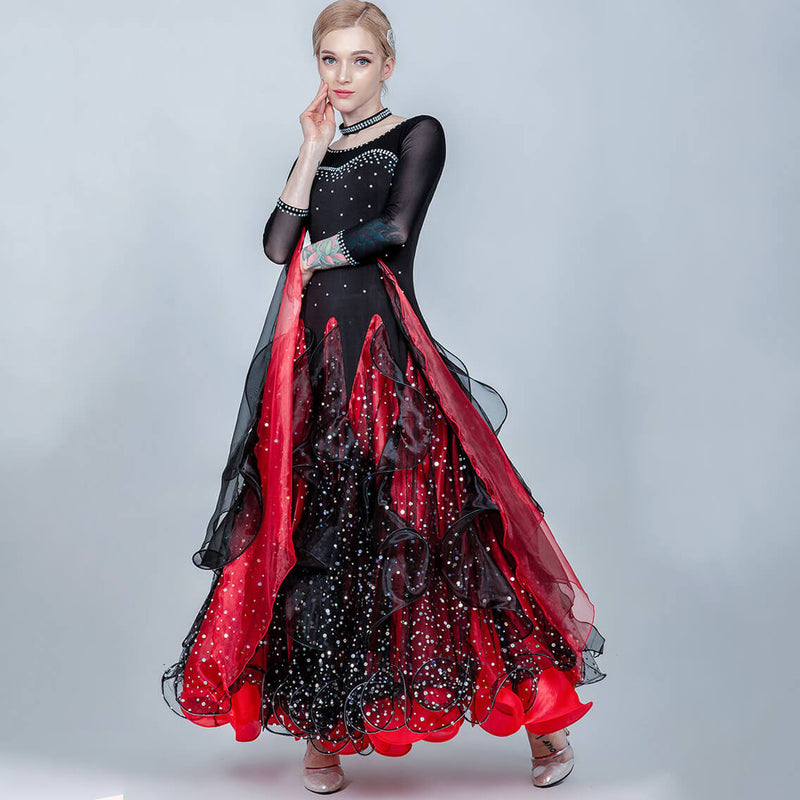 A-Line Long Ballroom Dress with Sequins