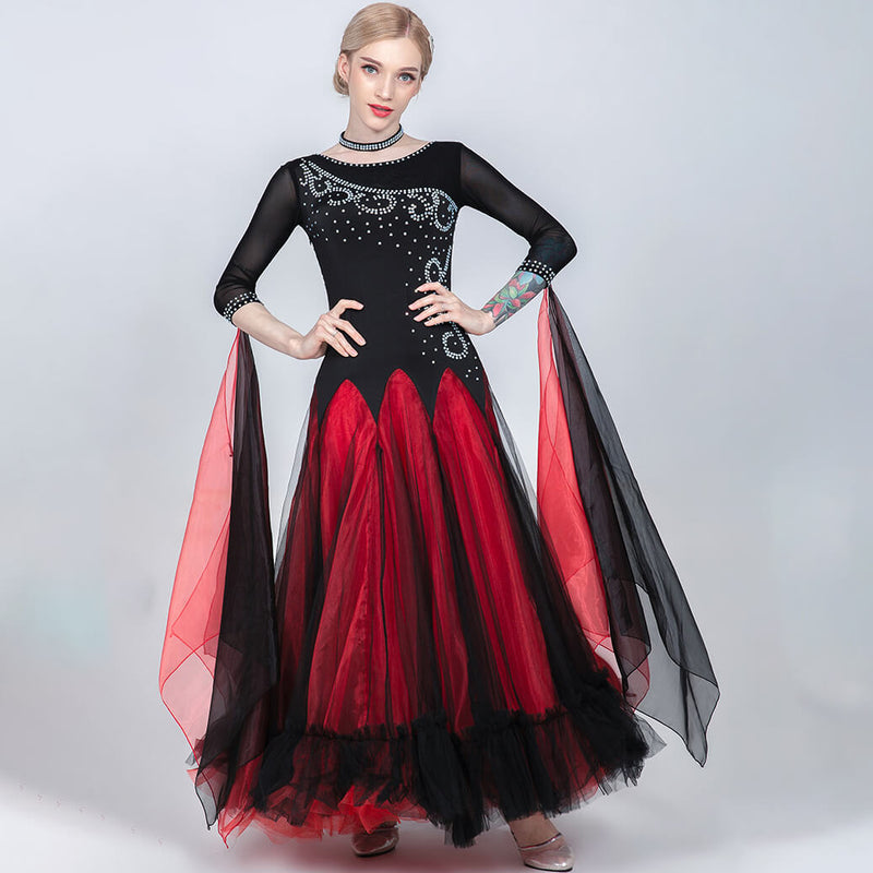 A-Line Long Patchwork Ballroom Dress with Mesh