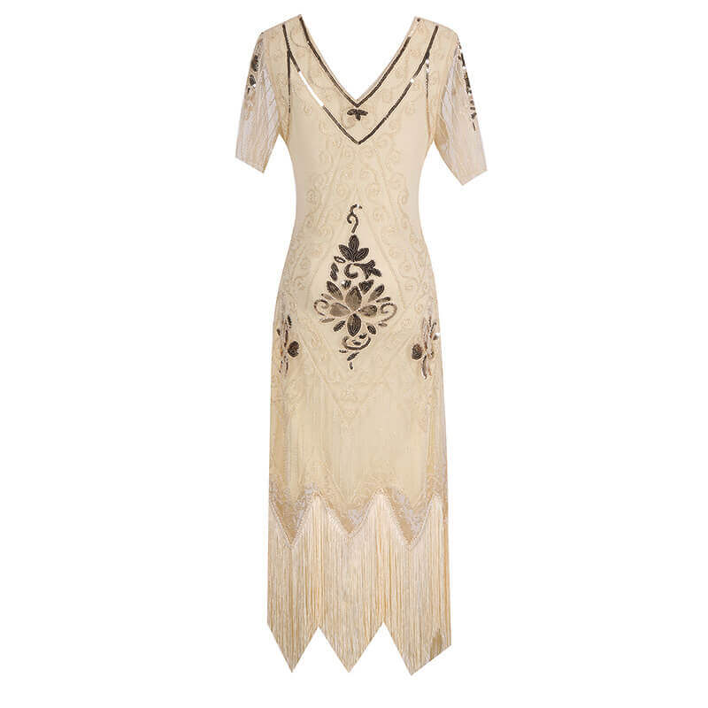 A-Line Calf-Length 1920s Dress with Tassels