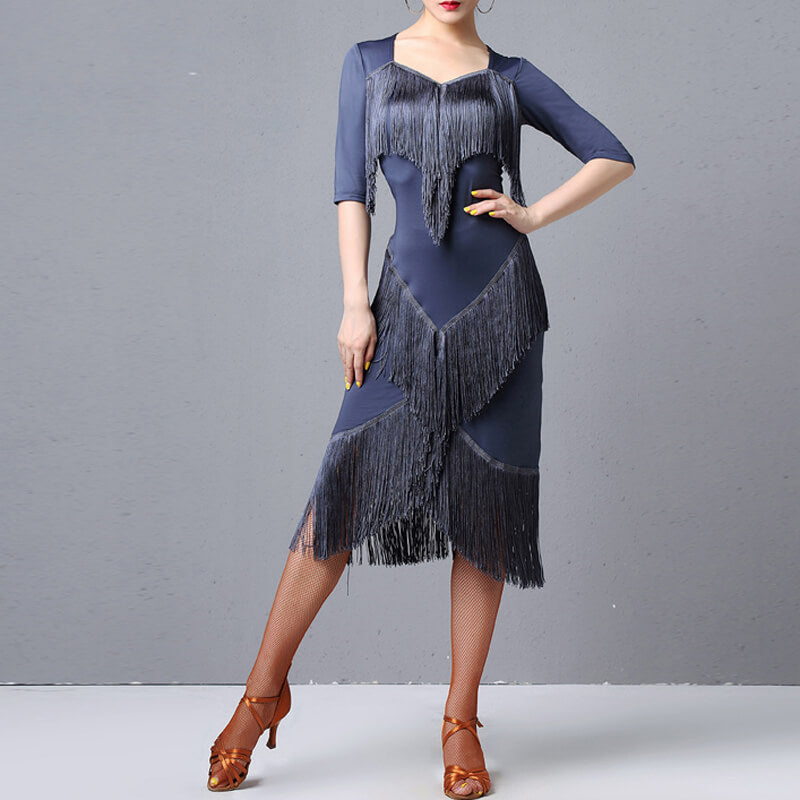 A-Line Calf-Length Latin Dress with Tassels