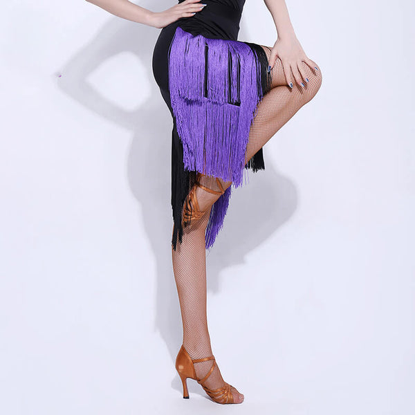 A-Line Chic Latin Skirt with Tassels