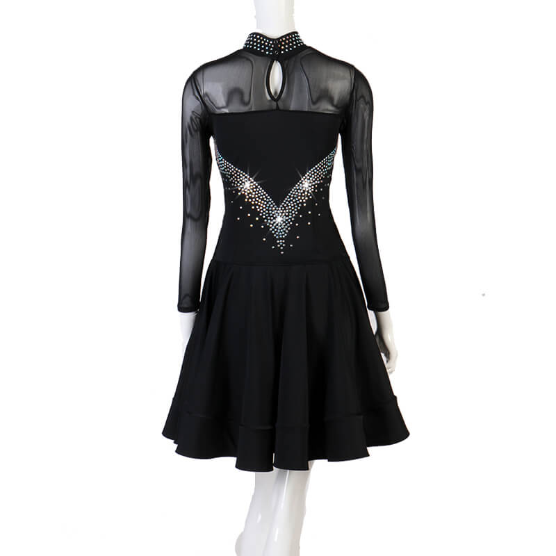 A-Line Knee-Length Latin Dress with Beading
