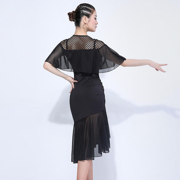 A-Line Knee-Length Latin Dress with Fishnet