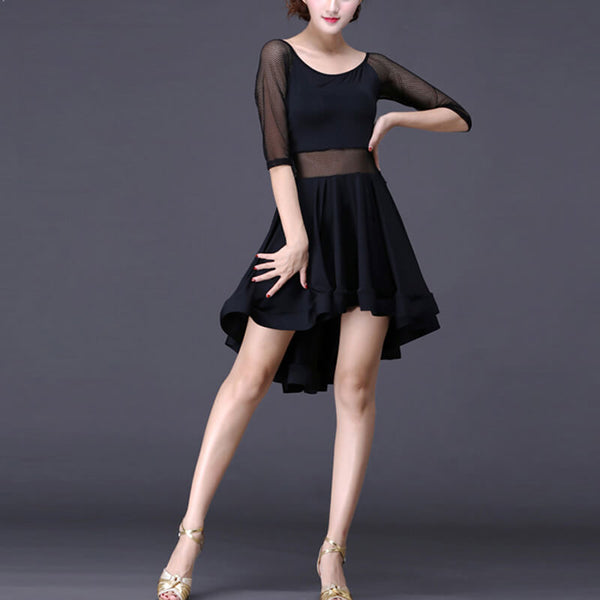 A-Line Knee-Length Latin Dress with Mesh