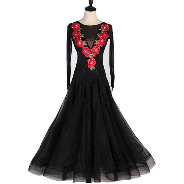 A-Line Long Ballroom Dress with Embroidery